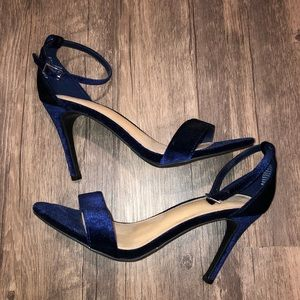 APT.9 Navy Blue Suede Stilettos with Ankle Strap